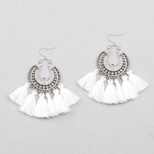 Jewelry - Boho Etched Silver Fringe Tassel Earrings - WHITE